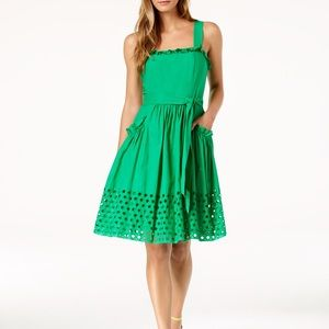 Vince Camuto Green Eyelet A-line Cotton Dress